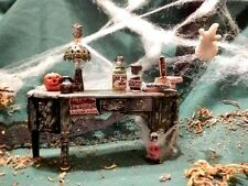 OOAK Halloween Miniature Dollhouse Desk with Bottles Books Lamp Skull Pumpkin
