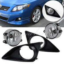 2009-2010 Toyota Corolla Front Bumper Clear Lens Fog Lights Lamps Grille Cover