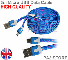 3m Blue Braided Flat Micro USB Charger Data Cable 3 Meter PREMIUM QUALITY  UK