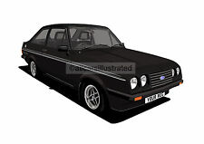 FORD ESCORT RS2000 GRAPHIC CAR ART PRINT PICTURE (SIZE A3). PERSONALISE IT!