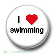 I Love / Heart Swimming 1 Inch / 25mm Pin Button Badge Pool Water Trunks Swimmer