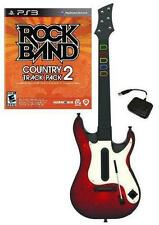 NEW PS3 Wireless Guitar Hero 5 Guitar & Rock Band Country Track Pack 2 Bundle