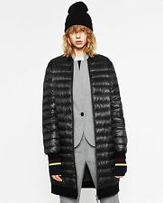 ZARA BLACK LIGHTWEIGHT LONG DOWN PUFFER BOMBER COAT QUILTED JACKET SIZE MEDIUM