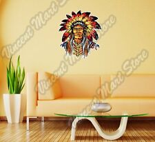 "Indian Chief Head Apache Native Gift Wall Sticker Room Interior Decor 21""X22"""