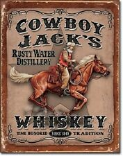 """12 1/2"""" X 16"""" COWBOY JACK'S WHISKEY RUSTY WATER DISTILLERY METAL SIGN NEW"""