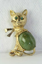 VTG 1960'S CREED STERLING SILVER GOLD VERMEIL GREEN CONNEMARA MARBLE CAT PIN