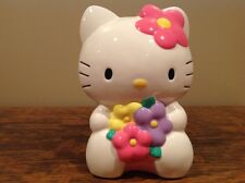 """Hello Kitty with Flowers Ceramic Coin Piggy Bank 2012 Sanrio/ 9"""" Tall"""