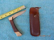 VINTAGE FOLDING KNIFE, 8.75'' OPEN - 4.75'' CLOSED, WITH SHEATH, FROM PAKISTAN.