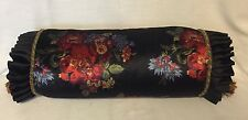 MacKenzie Childs Flower Market Corsage Bolster Pillow Courtly Check Black NWT