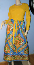SIZE M/14 WOMEN'S VINTAGE QUILTED, FLORAL, HOSTESS GOWN DRESS