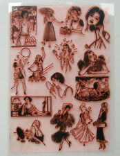 "Clear Stamps Sheet 7""x10"" ~ Cute Girl Everyday Livin FLONZ Vintage Rubber 403-26"