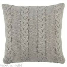 GREY CABLE KNIT CUSHION SET COVER + FILLING MODERN DECOR SOFA BED ZIP FASTENING