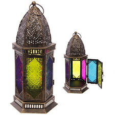 Coloured Glass Large Moroccan Style Metal Metal Standing Lantern Candle Holder