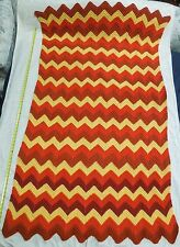 ZIG ZAG AFGHAN 78 x 46 CHEVRON RUST ORANGE YELLOW RIPPLE CROCHET TWIN BLANKET