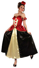 LADIES ROYAL QUEEN OF HEARTS ALICE WONDERLAND FAIRYTALE COSTUME OUTFIT NEW 12/14