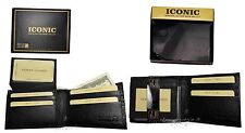 Lot of 2 Men's Leather Wallet, Black Crocodile Skin Printed wallet BR New In Box