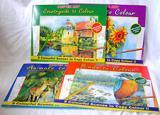 NEW 4 BOOKS PICTURES COPY COLOUR ADULT COLOURING FLOWERS COUNTRY ANIMALS BIRDS