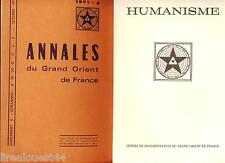 revue Humanisme 87+88 + supplement annales du grand orient de France 1971 FMacon