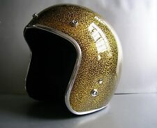 Vintage style motorcycle helmet with metal flake