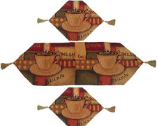 DaDa Bedding Smell of Coffee Latte Java Print Tapestry Table Runner Set Brown 3P