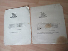 2 DOCUMENTS 1815 FAIRE PART DE DECES