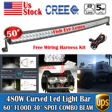 50inch Cree 480W Combo LED Curved Light Bar Lamp Offroad SUV 4WD ATV +Wiring Kit