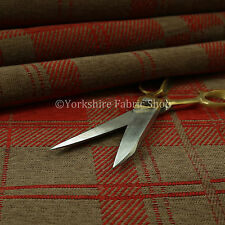 New Tartan Pattern Design Red Brown Soft Luxury Chenille Woven Upholstery Fabric
