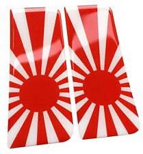 2x Japan Rising Sun Flag Gel Domed Number Plate Decals 107x42mm
