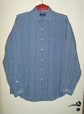 "NINO CERRUTI MEN'S DESIGNER LONG SLEEVE BLUE CHECKED SHIRT SIZE 16.5"" LARGE VGC"