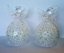12cm Set of 2 Hanging Glass Fairy Christmas Tree Decoration Glass Ornament