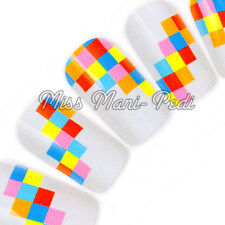 NAIL Art Water Trasferimenti Wraps Decalcomanie COLORATE QUADRATI Divertente Carino K111