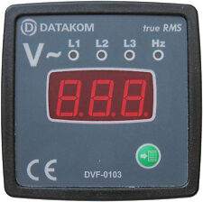 DATAKOM DVF-0103 72x72 Digital Voltmeter and Frequencymeter Panel (3 Phase)