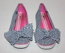 Keds Blue/White Gingham Ckecked Slip on Women's Shoe w/Bow Embellishment Size 5
