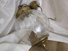 Vintage Retro 60-70er Decken Lampe Hängelampe Flür Kugellampe Glas Messing