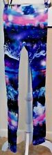 No Boundaries Leggings Size S Galaxy Sky Multi-color Mountains aurora borealis
