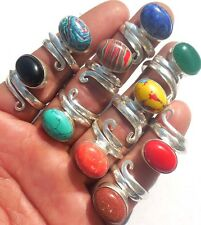 ONLINE JEWELRY MIX GEMS WHOLESALE LOT 10PC 925 STERLING! SILVER OVERLAY RING!!!