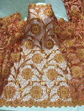 "ORANGE GOLD BROWN CUTOUT EMBROIDERY RHINESTONE BRIDAL LACE FABRIC 50"" WiIDE 1 Y"