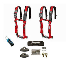 Pro Armor 4 Point 2 Padded Seat Harness Pair Mount Kit Bypass Red General