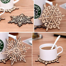 New Chic Xmas Carved Wood Wooden Snowflake Coaster Drinks Cup Mat Coasters Pop