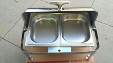 Stainless Steel Double Pan Roll Top Chafing Dish Commercial Food Warmer 17.5 Qt