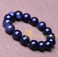 100% natural blue sandstone 12 mm lucky man bracelets size 8 inches