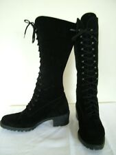 Vintage 80s 90s black suede leather lace-up fitted calf length boots, UK 6 39