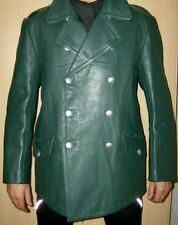 Man's Police Officer German Military Leather Coat Jacket 52 / UK 42 / L