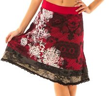 Beautiful Desigual Fasi Red Aline Skirt With White Patterns Size L