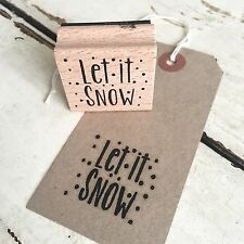 Let it Snow Wooden Printing Rubber Stamp - Xmas Craft Tags Wrapping Cards Stamps
