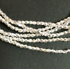 Silver Plated AB 3mm Faceted Firepolish Czech Glass 48 beads