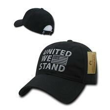 Black USA US American Flag Patch United We Stand America Polo Baseball Hat Cap
