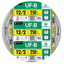 250' Roll 12-2 AWG UFB Gauge Outdoor Electrical Feeder Copper Wire Gray 20 Amp