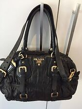PRADA Gaufre Nappa Bauletto Nero Black Leather Bag