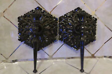 Gothic Halloween Black Candle Holder Wall Mount Hanging Sconce Set of 2 Decor
